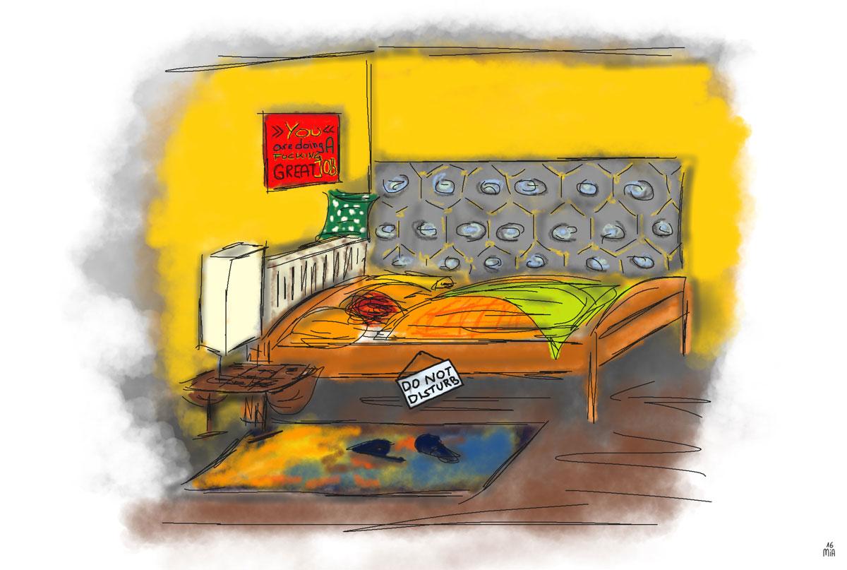 BettZeichnungMiA16 - Warum schlafe ich schlecht? - Der gute Schlafplatz, Teil 1